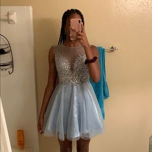 Baby blue knee-length dress